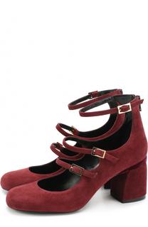 Замшевые туфли с ремешками на массивом каблуке Baldan