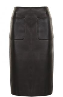 Кожаная юбка-миди с карманами Escada