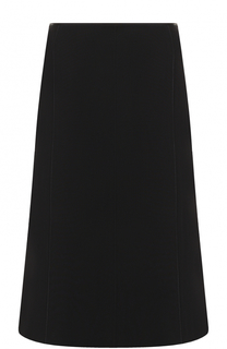 Шерстяная однотонная юбка-миди Escada
