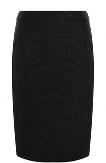 Шерстяная юбка-карандаш с пайетками Escada