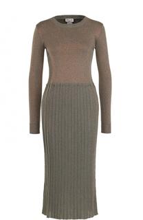 Вязаное платье-миди с длинным рукавом и круглым вырезом Paul&Joe Paul&Joe