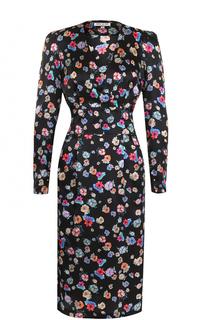 Шелковое платье с цветочным принтом и широким поясом Paul&Joe Paul&Joe