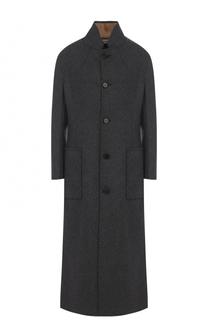 Шерстяное пальто с карманами и воротником-стойкой Marni