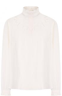 Шелковая блуза с кружевной вставкой и воротником-стойкой Paul&Joe Paul&Joe