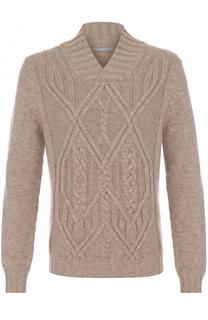 Кашемировый пуловер фактурной вязки с шалевым воротником malo