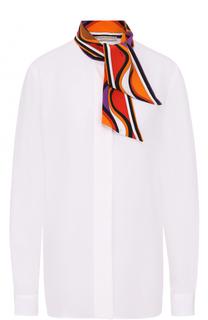 Шелковая блуза с контрастным воротником Emilio Pucci