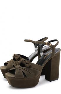 Замшевые босоножки Farrah на устойчивом каблуке и платформе Saint Laurent