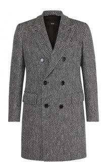 Двубортное шерстяное пальто с отложным воротником BOSS