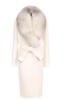 Шерстяное пальто с поясом и отделкой из меха лисы Roberto Cavalli