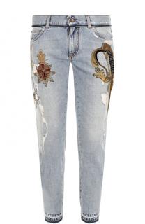 Джинсы прямого кроя с принтом и вышивкой канителью Dolce & Gabbana