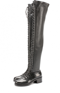 Кожаные ботфорты на шнуровке Le Silla