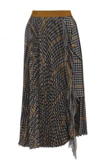 Шерстяная плиссированная юбка асимметричного кроя Sacai
