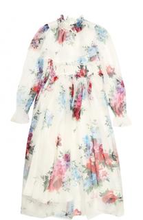 Шелковое платье-макси с принтом и высоким воротником Dolce & Gabbana