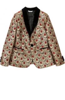 Пиджак таксидо из парчи с контрастными лацканами Dolce & Gabbana