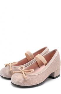 Текстильные туфли с бантами Pretty Ballerinas