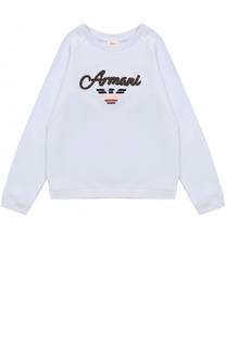 Хлопковый свитшот с декором Armani Junior