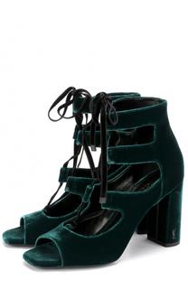 Бархатные босоножки Loulou на шнуровке Saint Laurent