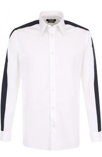 Хлопковая сорочка с контрастной отделкой CALVIN KLEIN 205W39NYC