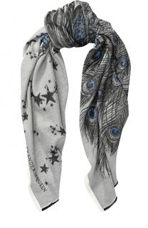 Шерстяной шарф с принтом и логотипом бренда Alexander McQueen