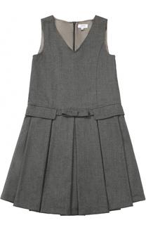 Мини-платье из смеси шерсти и полиэстера с защипами и бантом Aletta