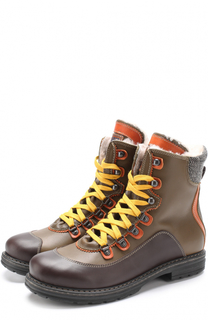 Кожаные ботинки с контрастными вставками и внутренней отделкой из меха Dsquared2
