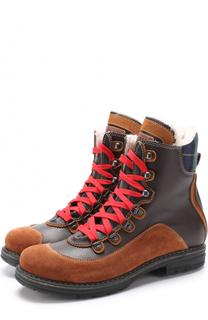 Кожаные ботинки с контрастными текстильными вставками и внутренней отделкой из меха Dsquared2