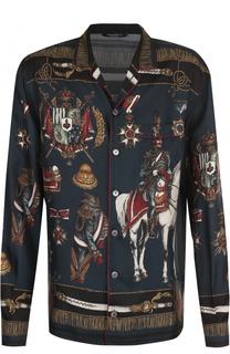 Шелковая домашняя сорочка с принтом Dolce & Gabbana