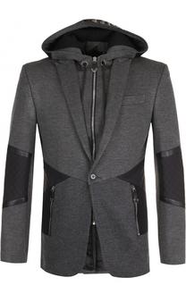 Однобортный пиджак из вискозы с капюшоном Philipp Plein