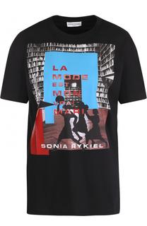 Хлопковая футболка с принтом Sonia Rykiel