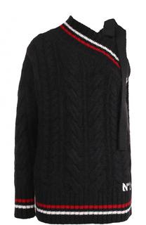 Шерстяной свитер фактурной вязки с открытым плечом No. 21