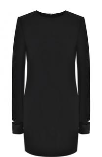 Мини-платье с круглым вырезом и длинным рукавом Helmut Lang