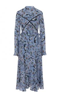 Шелковое платье-миди с цветочным принтом Erdem