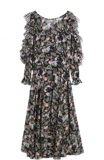 Приталенное платье-миди с принтом и оборками PREEN by Thornton Bregazzi