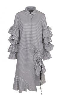 Хлопковое платье-рубашка с оборками PREEN by Thornton Bregazzi