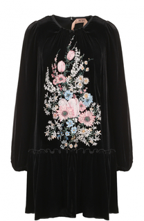 Бархатное мини-платье с оборкой и вышивкой No. 21