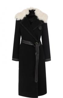 Шерстяное пальто с поясом и отделкой из меха овчины Helmut Lang