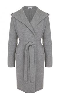 Шерстяное пальто с поясом и капюшоном Cruciani