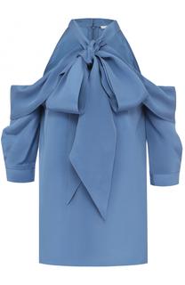Шелковая блуза с открытыми плечами и воротником аскот Erdem