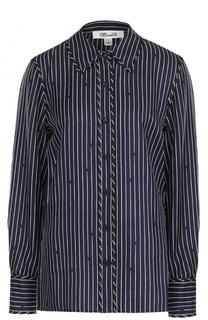 Шелковая блуза прямого кроя в полоску Diane Von Furstenberg