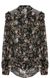 Шелковая блуза с воротником аскот и принтом PREEN by Thornton Bregazzi
