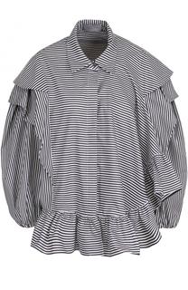 Хлопковая блуза в полоску с объемными рукавами PREEN by Thornton Bregazzi