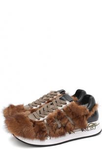 Комбинированные кроссовки Conny с отделкой из меха норки Premiata