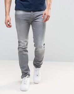 Серые выбеленные эластичные джинсы слим Diesel Buster 853T - Серый