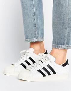 Премиум-кроссовки в стиле 80-х Adidas Superstar - Белый