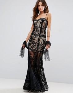 Полупрозрачное кружевное платье макси Forever Unique - Черный
