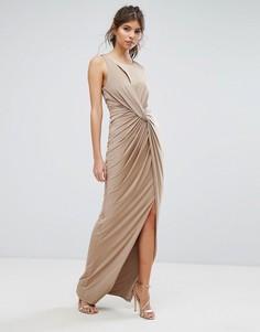 Платье макси с запахом и разрезом Forever Unique - Коричневый