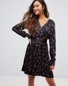Платье с запахом и цветочным принтом Gestuz Stella - Темно-синий