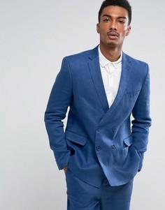 Синий двубортный пиджак узкого кроя из 100% льна ASOS - Синий