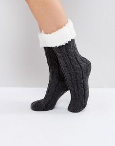 Носки крупной вязки с флисовой отделкой ASOS - Серый