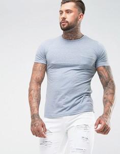 Длинная меланжевая футболка с карманом Another Influence - Синий